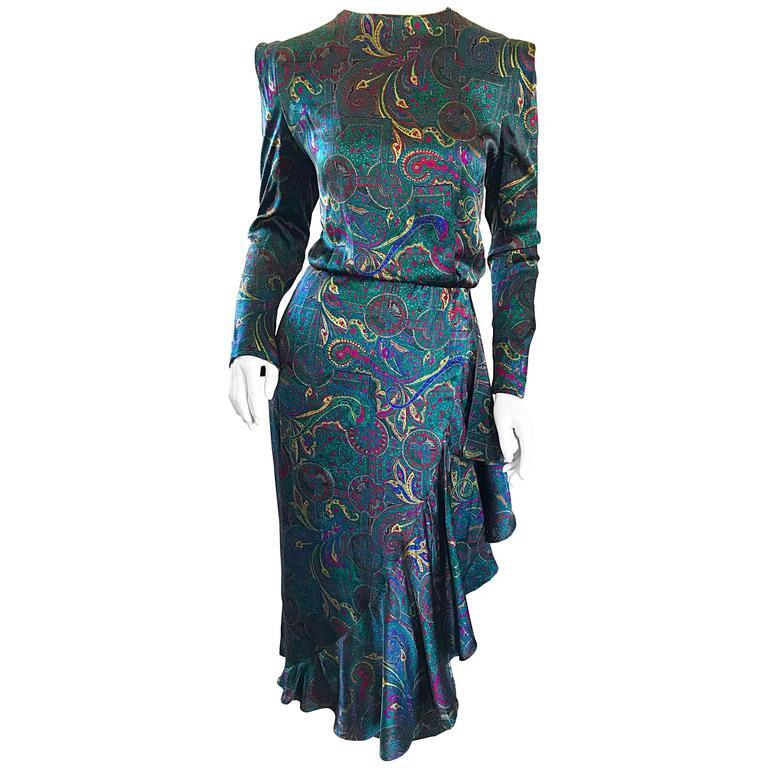 Louis Feraud Pretty Vintage Jewel Tone Size 4 Paisley Silk Long Sleeve Dress