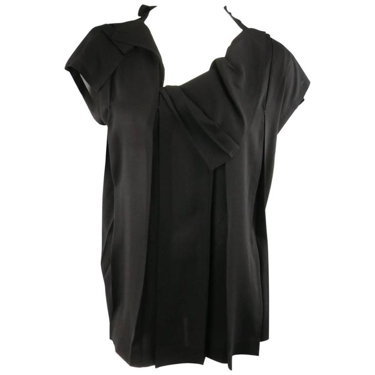 ISSEY MIYAKE Size L Black Asymmetrical Pleated Chiffon Blouse