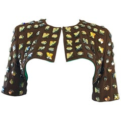 Fabulous 1990s C.D. Greene Brown Heavily Beaded Jeweled Cropped Vintage Bolero