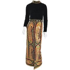Amazing 1960s Pat Sandler Long Sleeve Paisley Gold Sequin Vintage 60s Maxi Dress