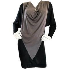 1990s C.D. Greene Black and Gray Colorblock Dolman Sleeve Vintage Jersey Dress