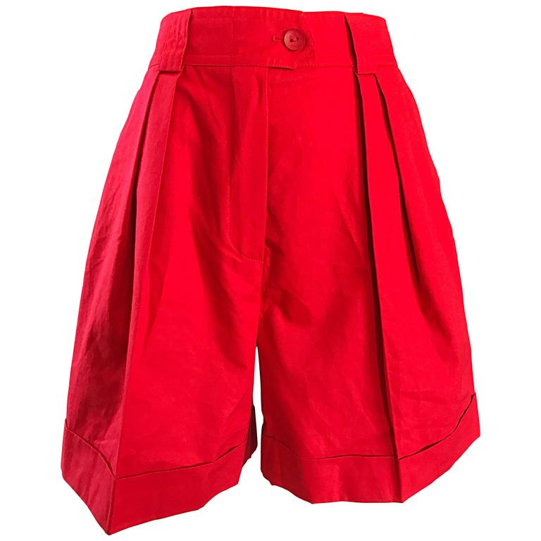 Chic Vintage Escada by Margaretha Ley 1980s Lipstick Red 80s Pleated Shorts 38