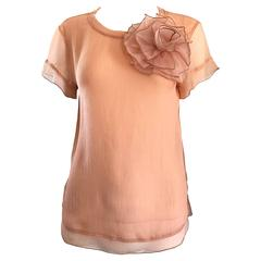 1990s Blumarine by Anna Molinari Light Pink Peach Chiffon Semi Sheer Blouse Top