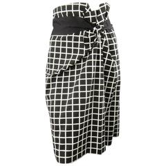 DRIES VAN NOTEN Size 6 Black & White Windowpane Asymmetrical Drap Pencil Skirt