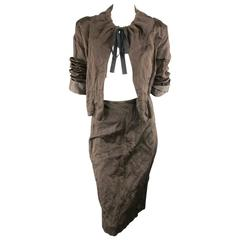 PRADA Spring 2009 8 Brown Wrinkled Cotton / Silk Blend Drawstring Skirt Suit