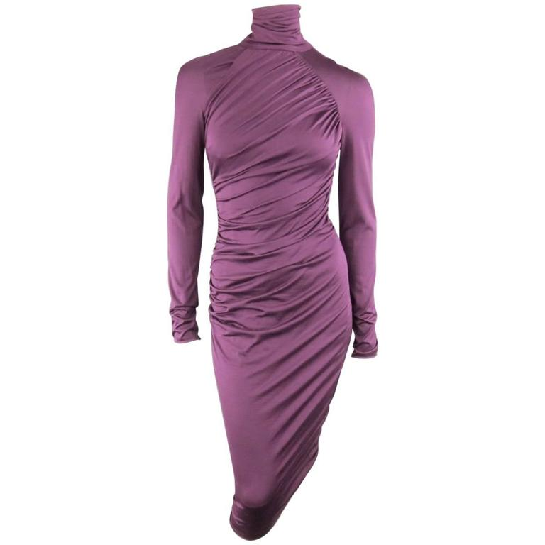 GIAMBATTISTA VALLI Size XS Violet Purple Draped Turtleneck Bodycon Midi Dress 1