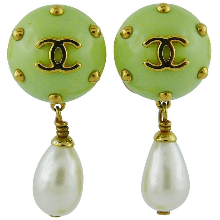 Chanel Vintage Studded Dangling Earrings Cruise 1996 For Sale