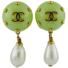 Chanel Vintage Studded Dangling Earrings Cruise 1996