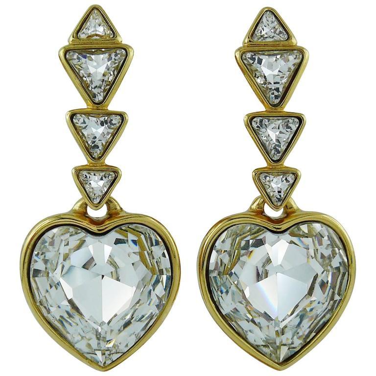 Yves Saint Laurent YSL Vintage Massive Diamante Heart Dangling Earrings 1
