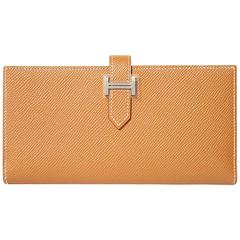 "Hermes ""Bearn"" Wallet Epsom Leather Gold Color PHW"