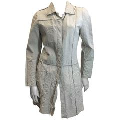 Poleci Cream Crinkle Leather Jacket