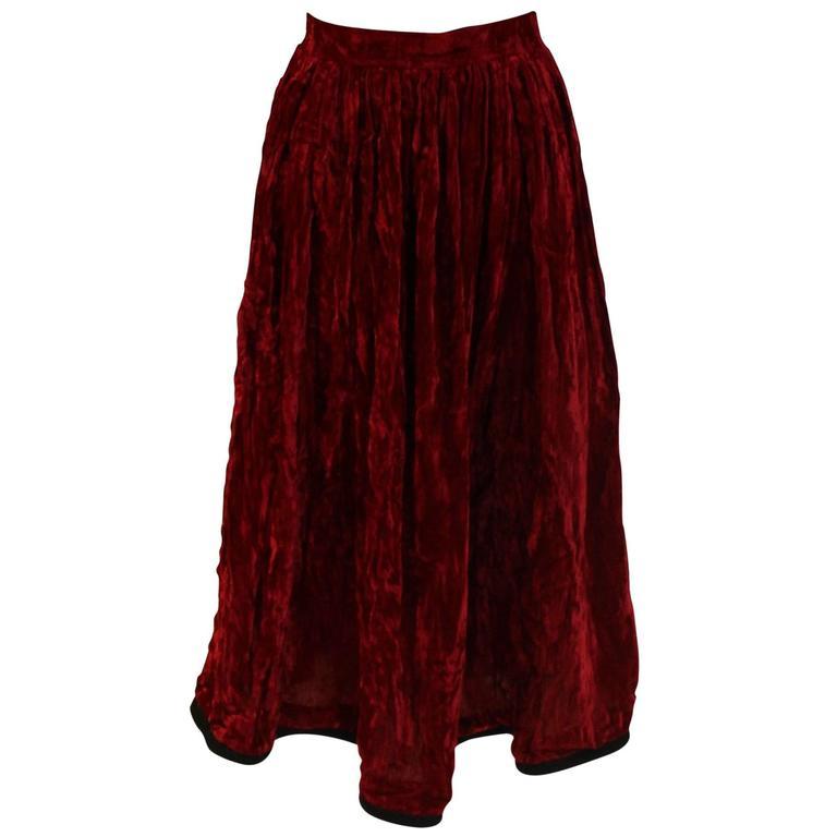 Yves Saint Laurent Rive Gauche Red Velvet Skirt