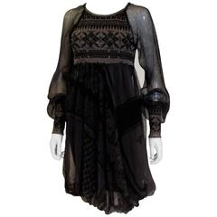 Knitted and Silk Dress by Jean Paul Gaultier