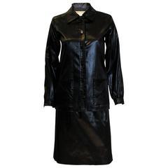 Yves Saint Laurent Rive Gauche Black 'Wet Look' Skirt Suit