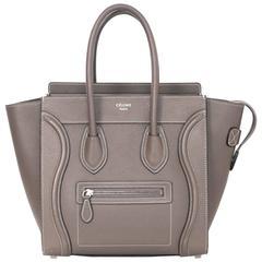 Celine Grey Drummed Calfskin Micro Luggage Tote Bag