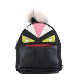 Fendi black nylon and leather Monster Charm' backpack key chain