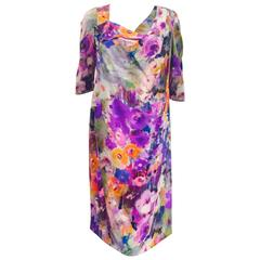 Exciting Escada Silk Watercolor Floral Print Dress
