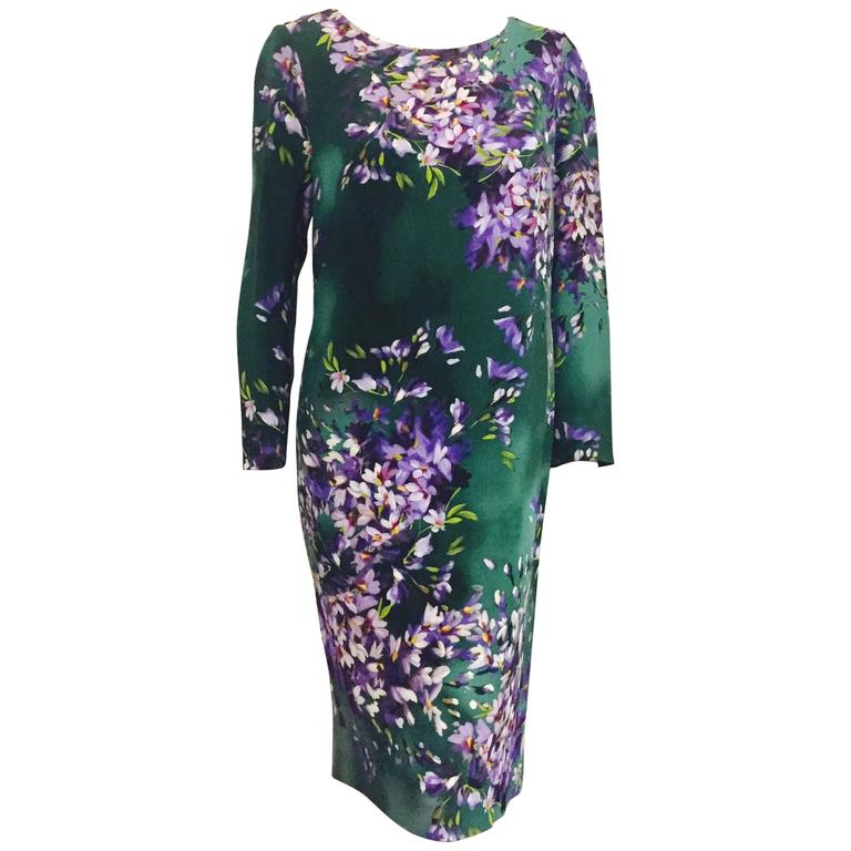 f7d92fc844eb Exquisite Escada Green Floral Print Dress For Sale at 1stdibs