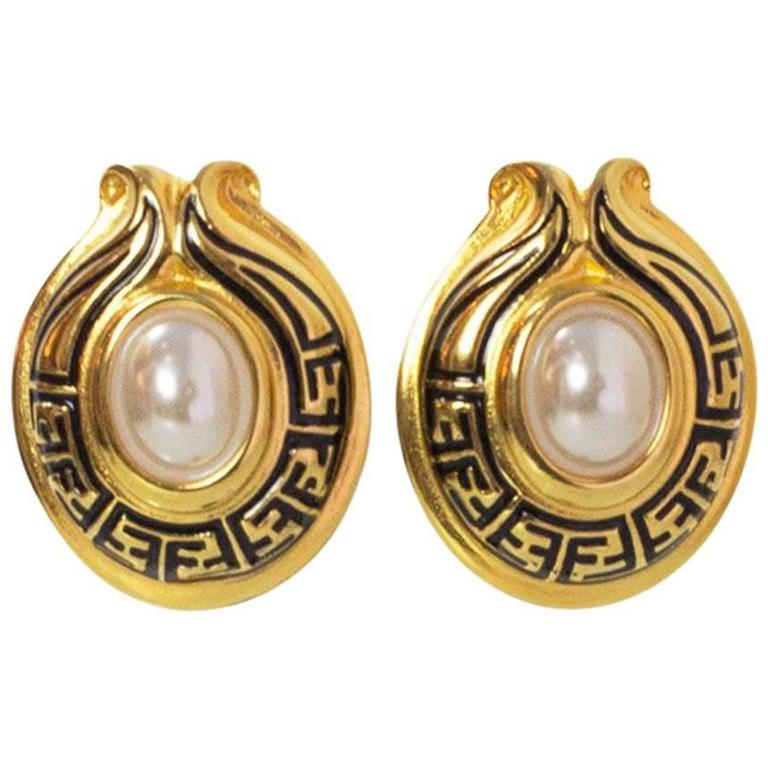 4c7f4881292c Fendi Goldtone Logo and Pearl Clip-On Earrings For Sale at 1stdibs