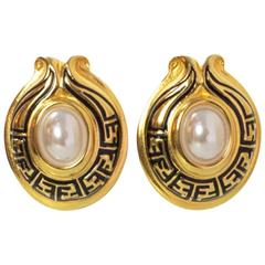 Fendi Goldtone Logo and Pearl Clip-On Earrings