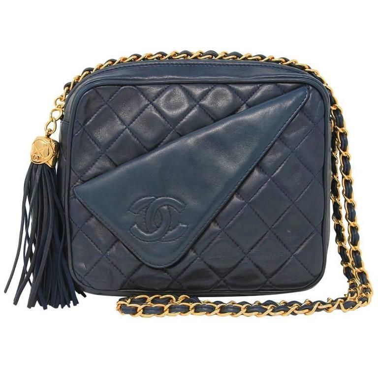 Chanel Navy Matelasse Tassel Lambskin GHW Shoulder Bag w/ Dust Bag For Sale