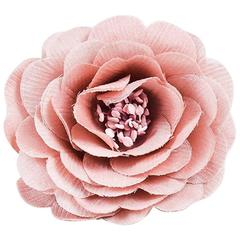 Chanel Vintage Pink Satin Layered Petal Flower Brooch