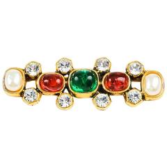 Chanel Vintage Multicolor Gold Gripoix Faux Pearl Brooch