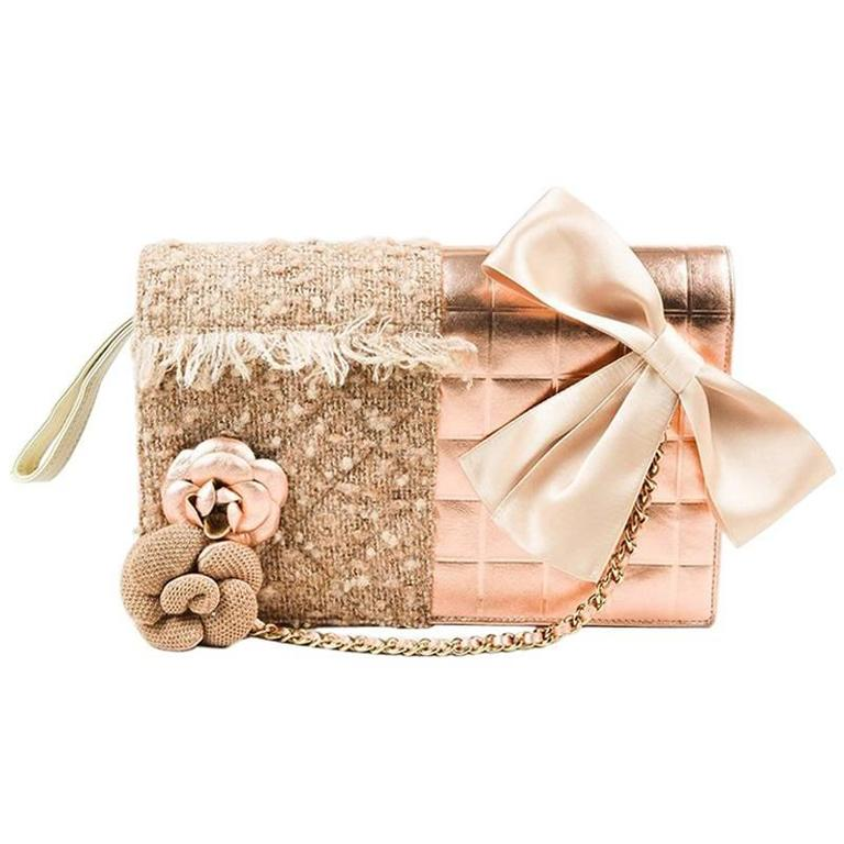 Chanel 01A Tan Rose Gold Leather Tweed Camellia Clutch 1