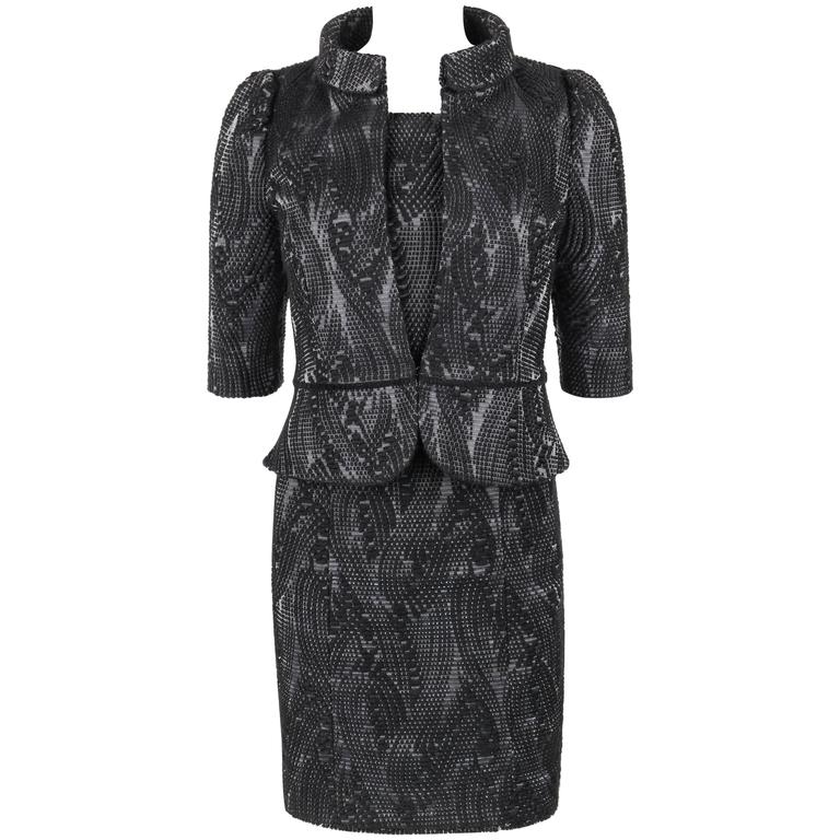 FENDI A/W 2009 2 Pc Black Wool on Grey Silk Jacket Dress Suit Set