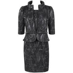 FENDI A/W 2009 2 Pc Black Wool on Grey Silk Jacket Dress Suit Set