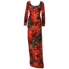 New ETRO Jersey Red Black Floral Print Long Dress with Belt IT.42 - US 6