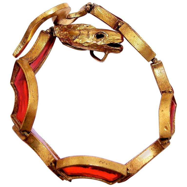 Chanel Red Poured Glass Serpent Bracelet Goossens Gilt Metal Pate de Verre 1970 1