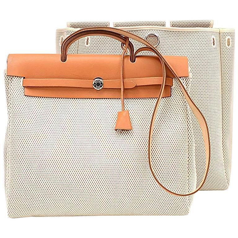 Hermes Herbag MM 2 in 1 Beige Canvas Brown Leather Shoulder Bag 1