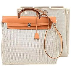 Hermes Herbag MM 2 in 1 Beige Canvas Brown Leather Shoulder Bag