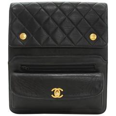 """Chanel 9"""" Black Quilted Leather Shoulder/Messenger Bag"""