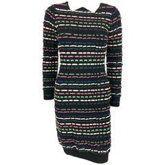 2010's Missoni Multi-Coloured Striped Black Dress