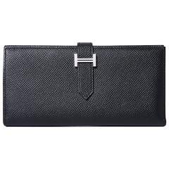 """Hermes """"Bearn"""" Wallet Epsom Leather 89 Black Color PHW"""