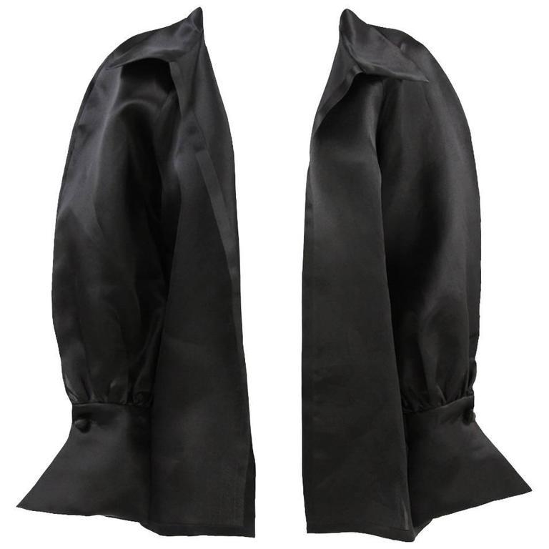 1980s Balenciaga Les Dix Black Satin Silk Jacket