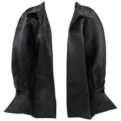 1980s Balenciaga Les Dix Black Satin Silk Jacket