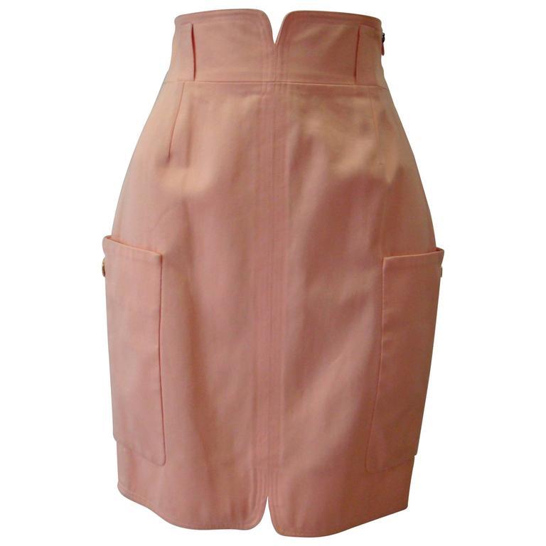 Gianni Versace Couture Salmon High Waist Pencil Skirt Spring 1992
