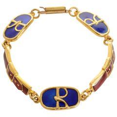 1970s Roberta di Camerino R Logos Gold Chain Bracelet