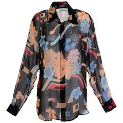 1990s GIANNI VERSACE Couture Flower Print Silk Blouse