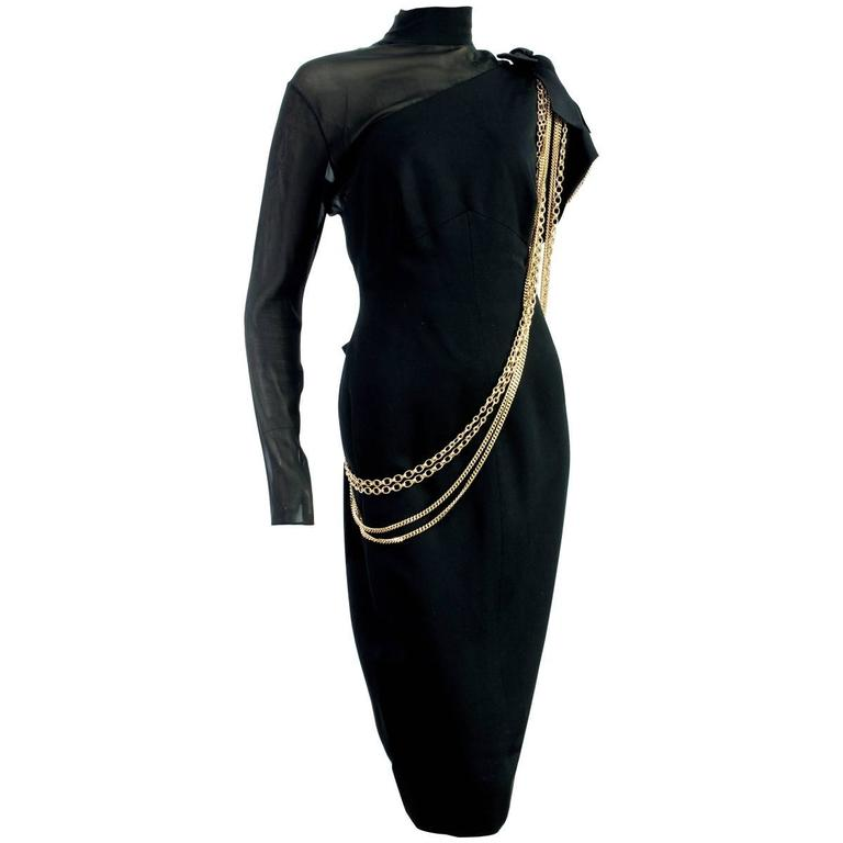 Exquisite Chanel Black Cocktail Dress Sheer Silk Panel with Gold Chains S 80s