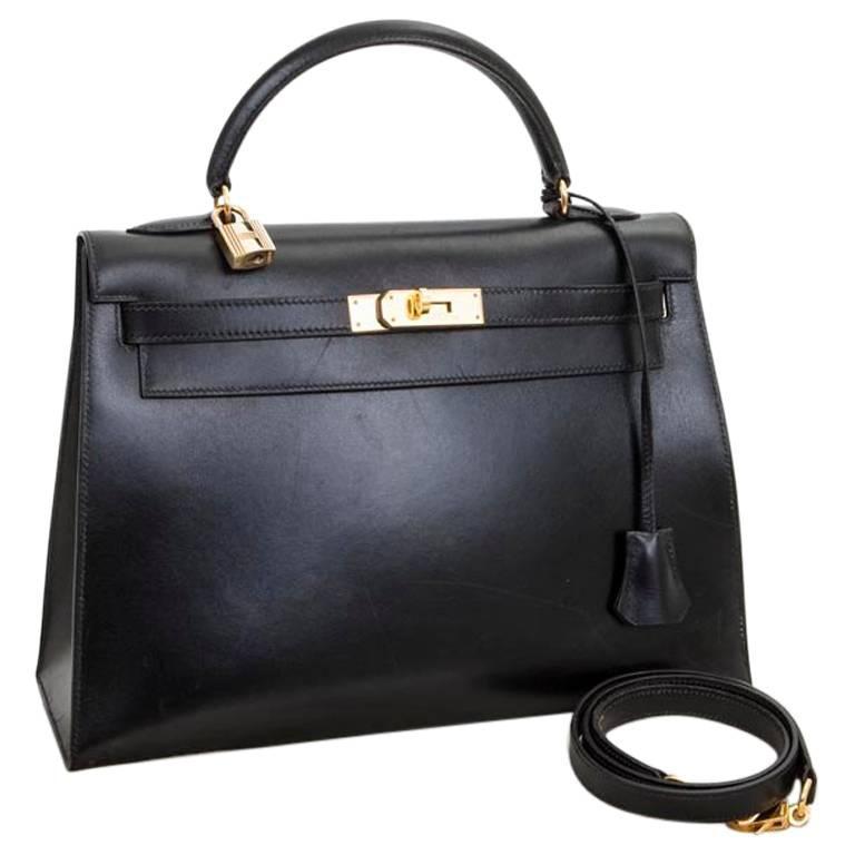 1994 Hermès Kelly 32 Sellier in Black Box Leather