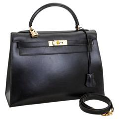 1994 Hermès Kelly 32 Sellier in Black Box Leather