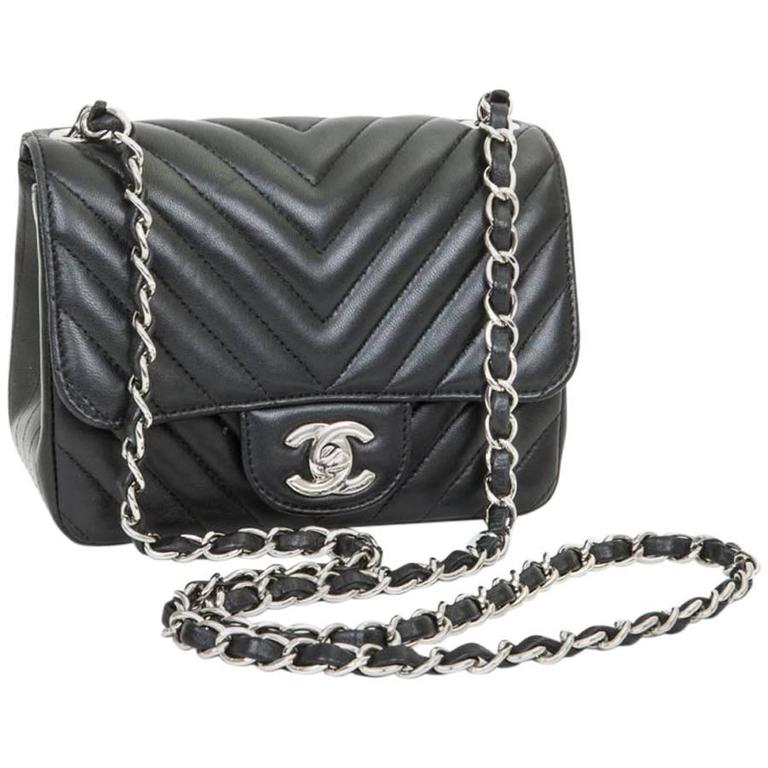 Mini Chanel Quilted Black Lamb Leather Shoulder Bag For Sale