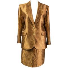 1990s Yves Saint Laurent  Rive Gauche bronze brocade set, suit ,jacket and skirt