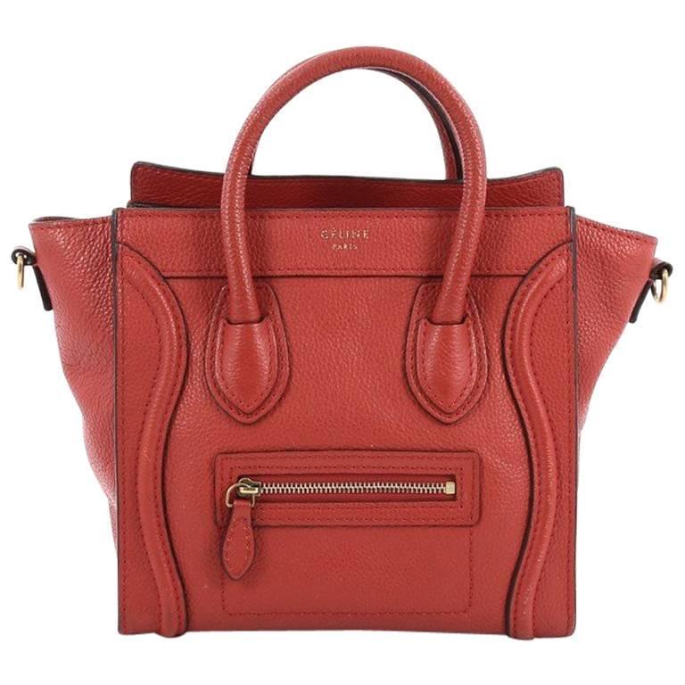 Celine Luggage Handbag Grainy Leather Nano 1