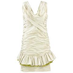 1980s Nina Ricci Off-White Silk Dress