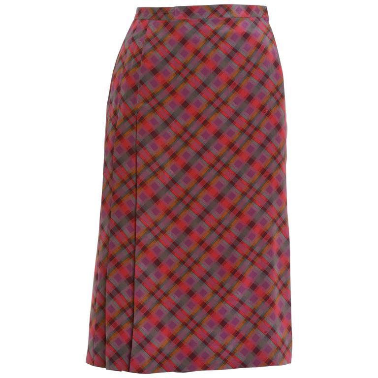 1980s YVES SAINT LAURENT Rive Gauche Pleateds Silk Skirt For Sale
